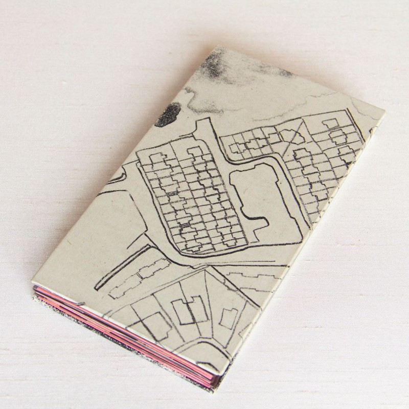Ink drawing on cover of handmade artist's book