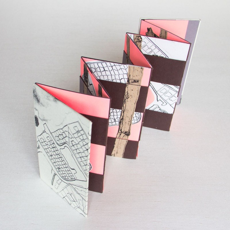 Jacob's Ladder artist's book with pink, brown and cream pages
