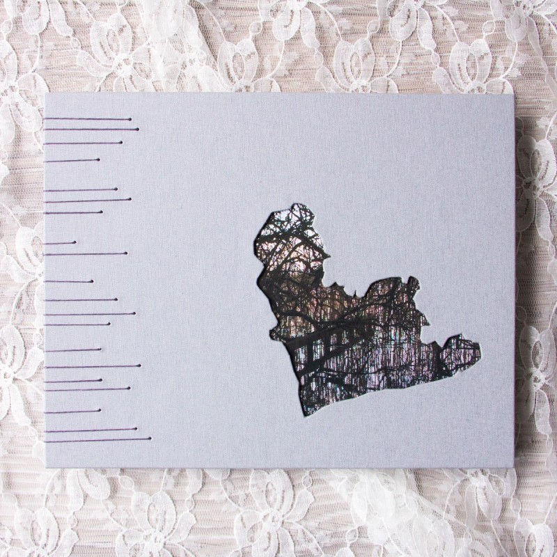 Handmade guest book ideas - coptic stitch with sunken image on cover