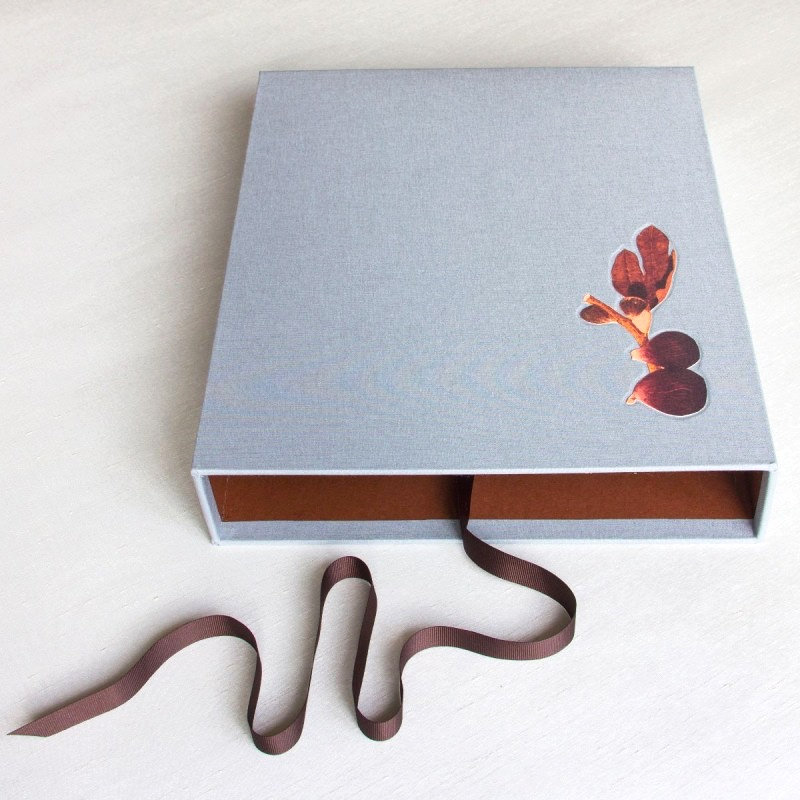 Grey slipcase with figs debossed on cover