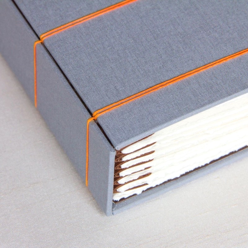 Close up of stitch along spine of handcrafted wedding album book idea