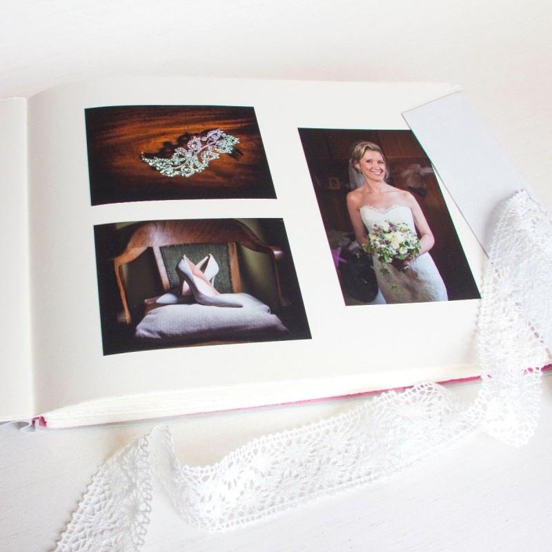 Wedding photographs of bride inside handmade wedding album Ireland