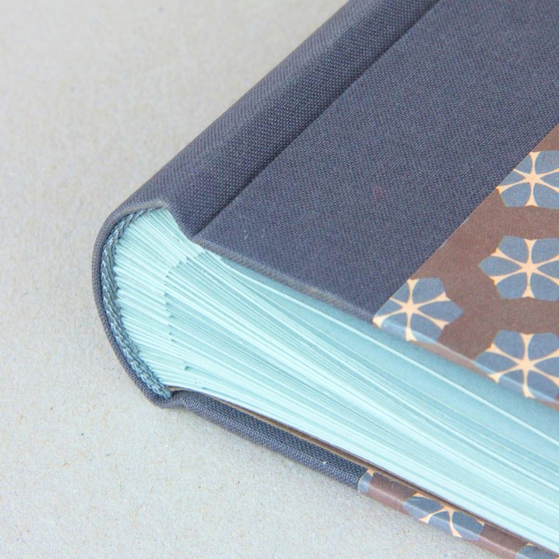 Handmade photo album with grey brown and blue cover