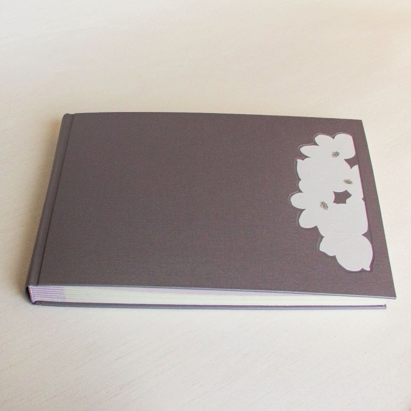 Personalised wedding album with handmade patterned paper