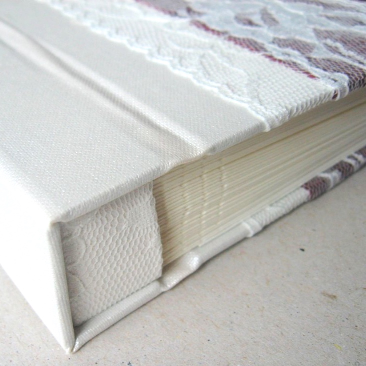 Pearl white cover with lace on wedding book