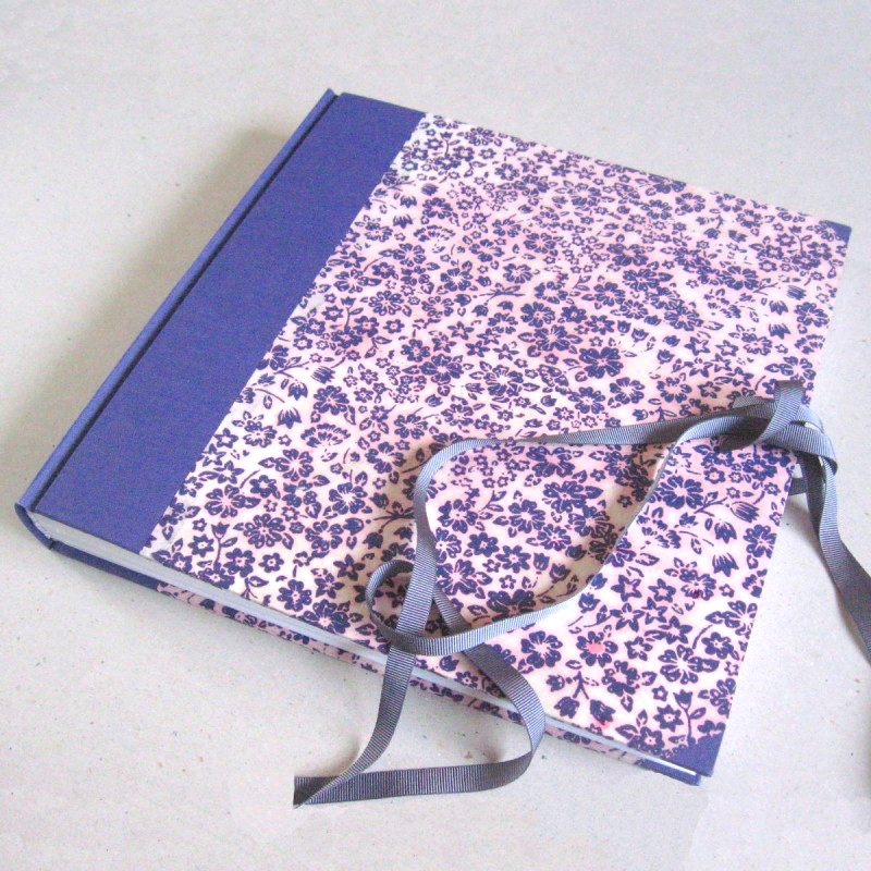 Personalised wedding album with purple and grey cover