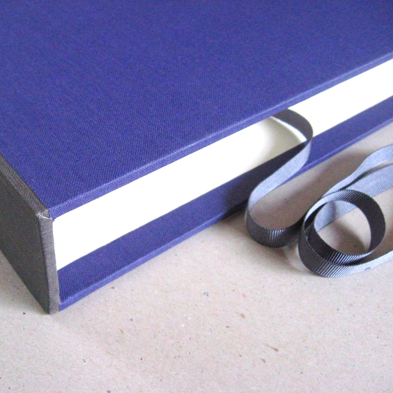 Grey and purple slipcase for handcrafted album