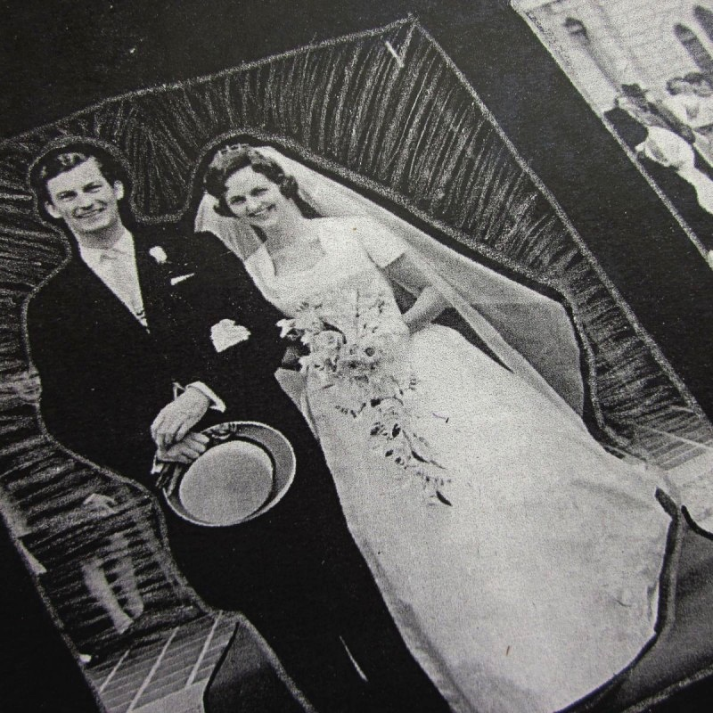 Old Photo of bride and groom on cover of handmade album book