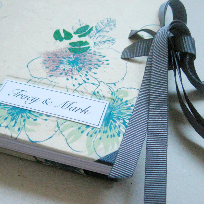 Handmade wedding book with cream, blue and pink handmade paper