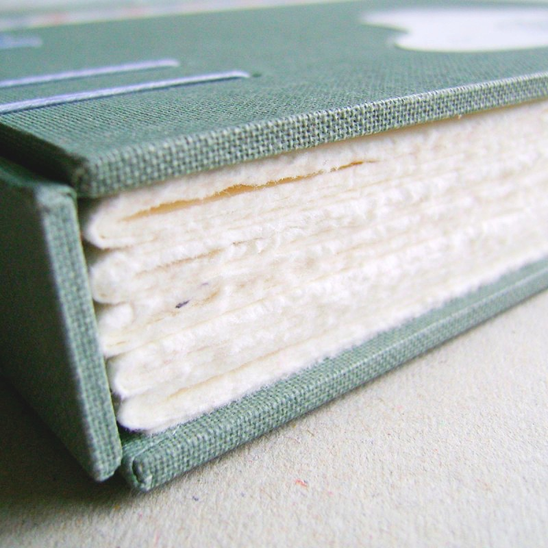 Hand torn page edges on handmade unique wedding guest book