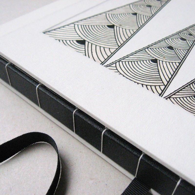 Handcrafted album inside white handmade slipcase box for album