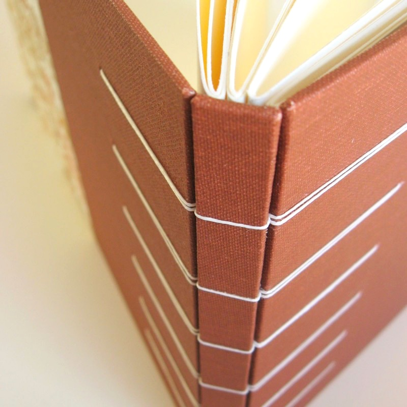 Stitching on spine of personalised guest book made in Ireland
