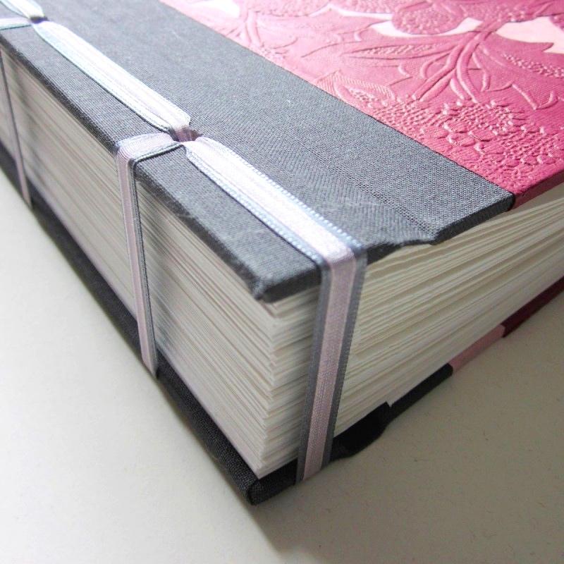 Spine of Polaroid guest book handmade in ireland