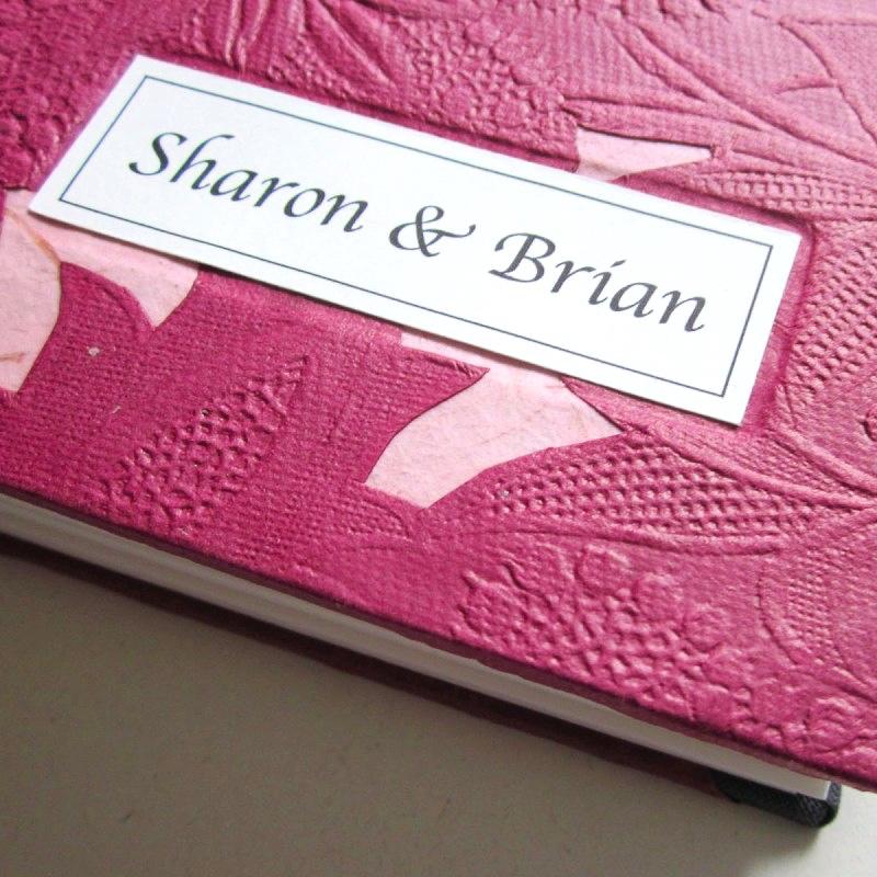 Inscription on handmade wedding guest book
