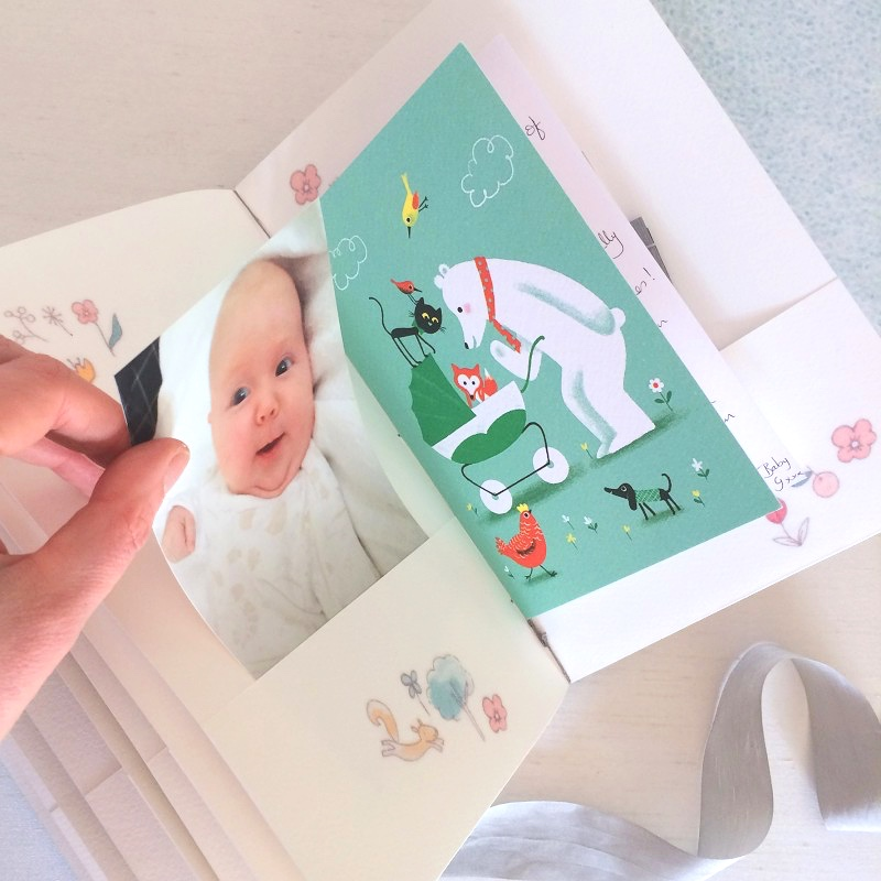 Pockets for mementos in baby record book