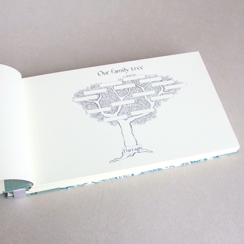 Family tree drawing in baby record book