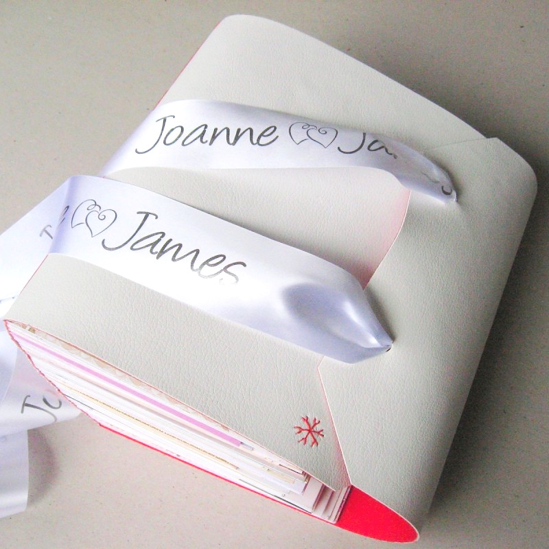Handmade memory book with wedding cards