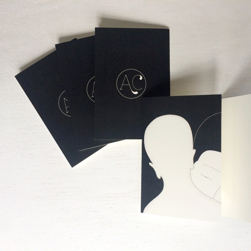 Limited edition chapbook Anne Carson poet - Black cover with drawing of white ghostly heads