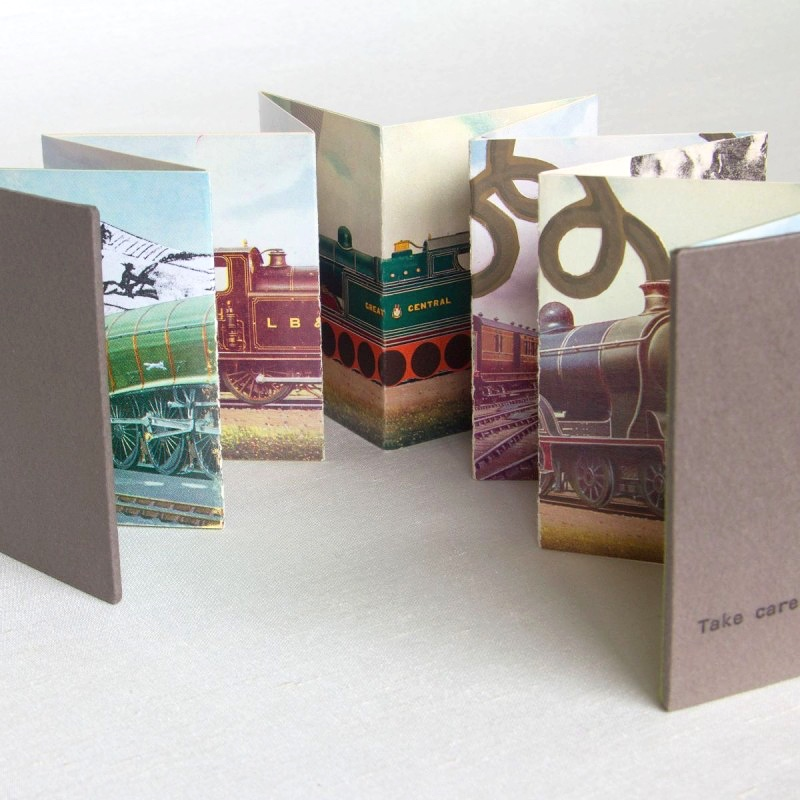 Handmade artist's book stretched out