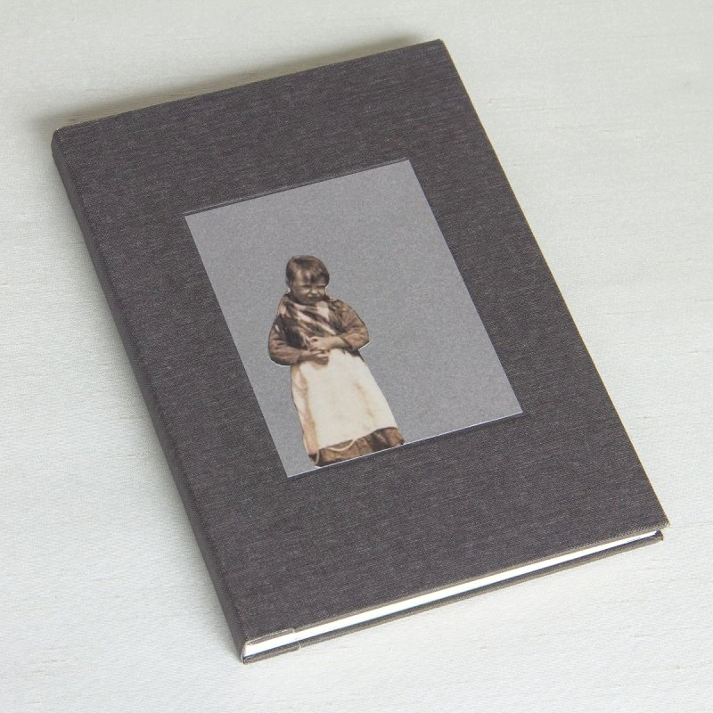 Grey cover with girl on handmade artist's book