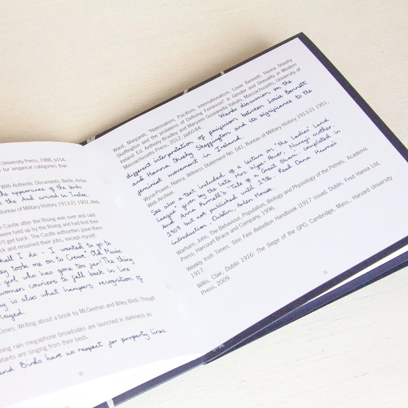 Text and biography in artist's book graphic design