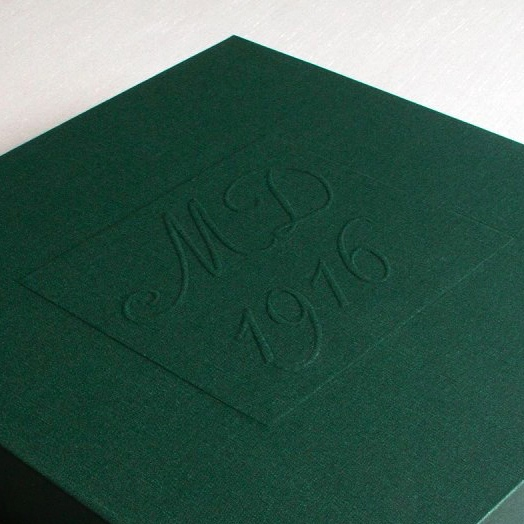 MD 1916 emboss on archival box made for Easter Rising 1916 commemoration exhibition