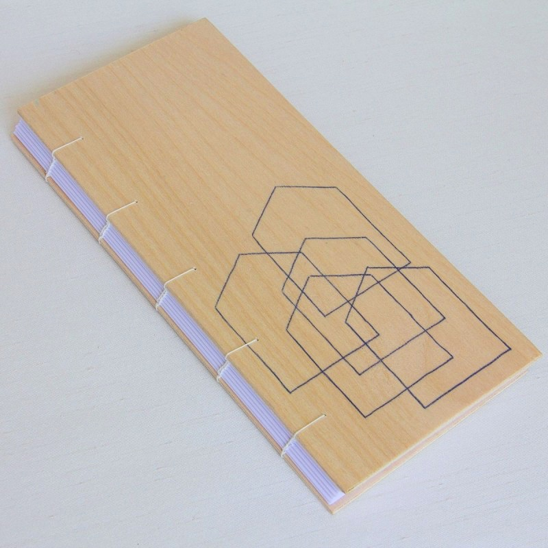 Handmade artist's book with wooden cover, NIVAL collection, Dublin Ireland