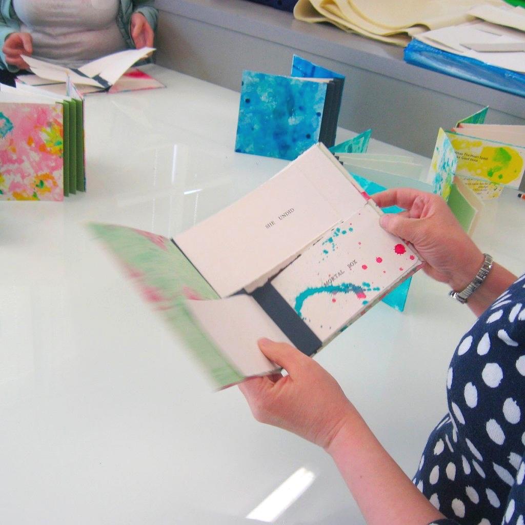Handmade Flag books with letterpress text