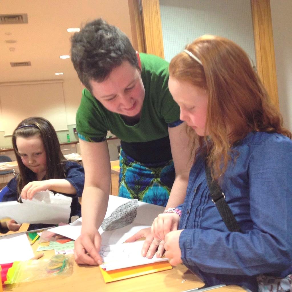 Irish bookbinder Éilís Murphy facilitating children's bookbinding workshop in Museum of Country Life, Mayo