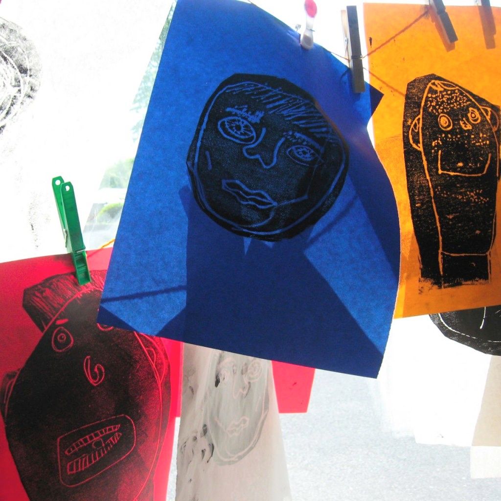 Foam prints on coloured paper of students in CRAFTed programme