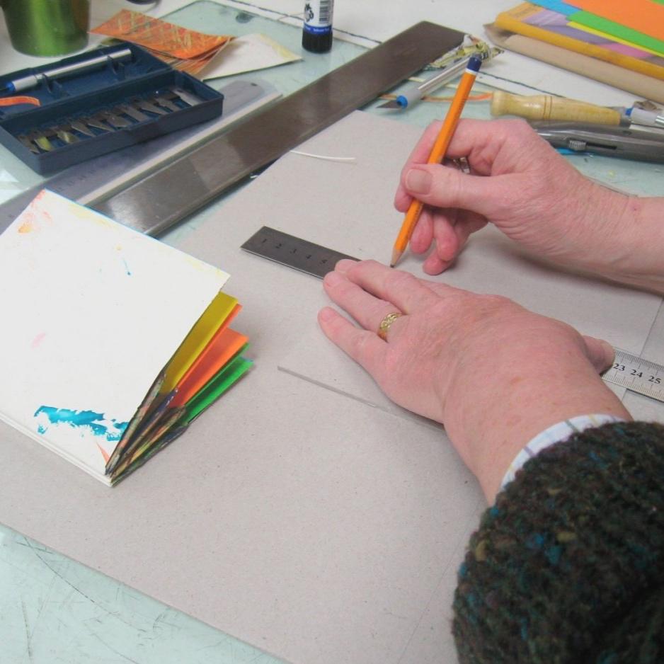 Measuring hardback cover for handmade artist's book