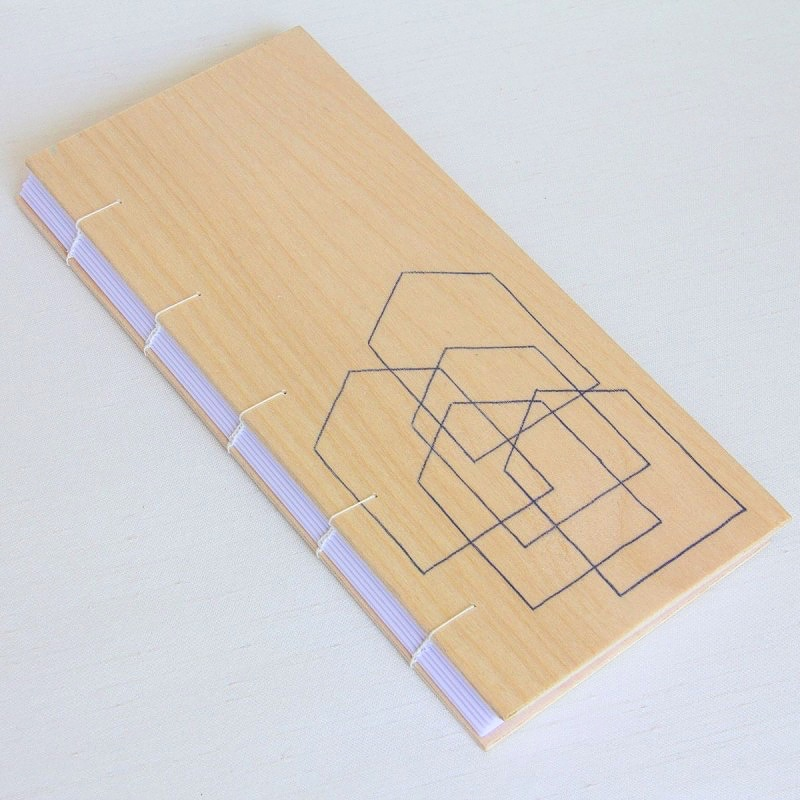 Handmade artist's book with wooden cover