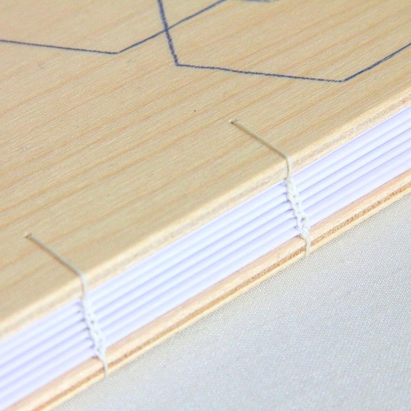 Coptic stitch book with white linen thread