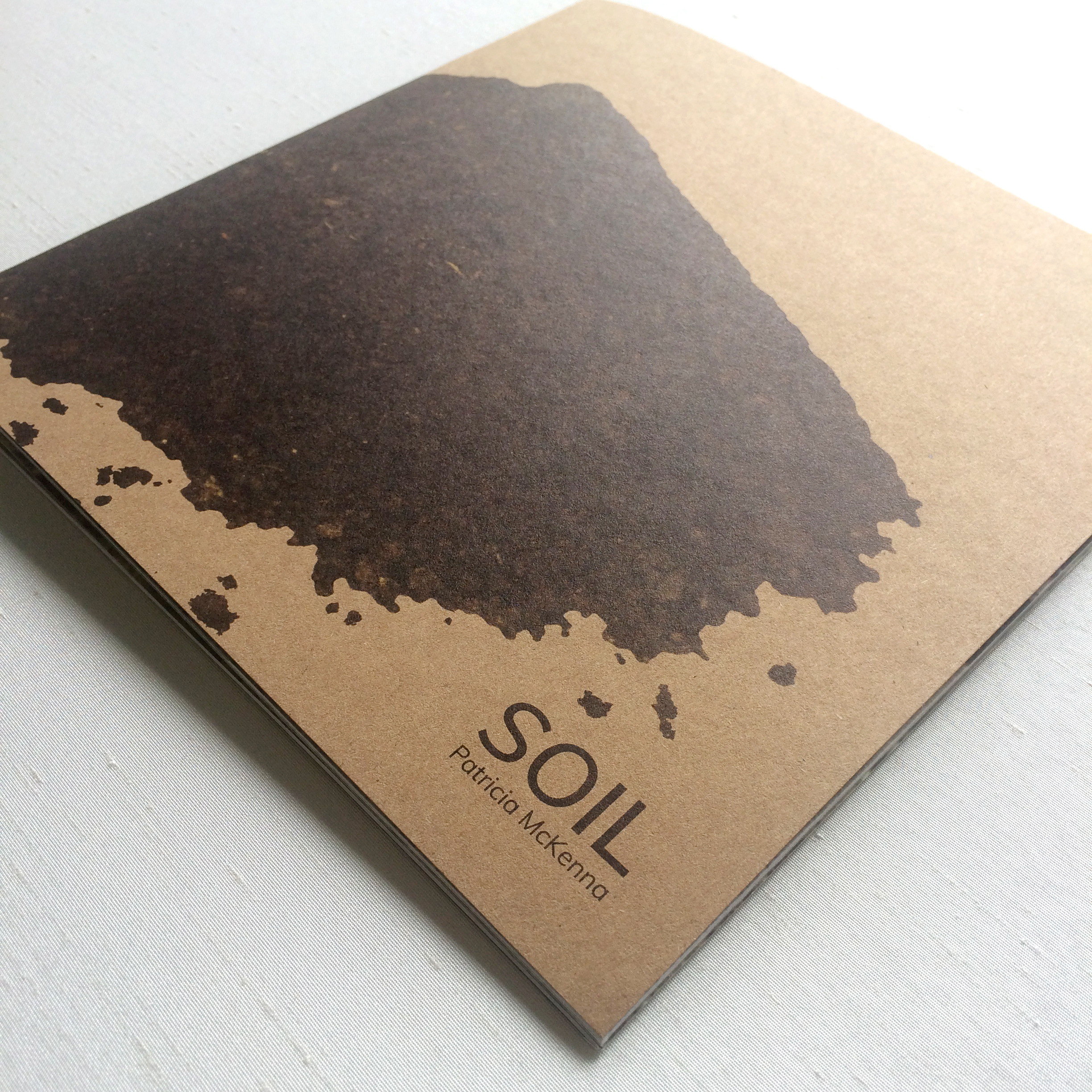 Brown cover of artist's catalogue displaying artworks by artist Patricia McKenna Soil project