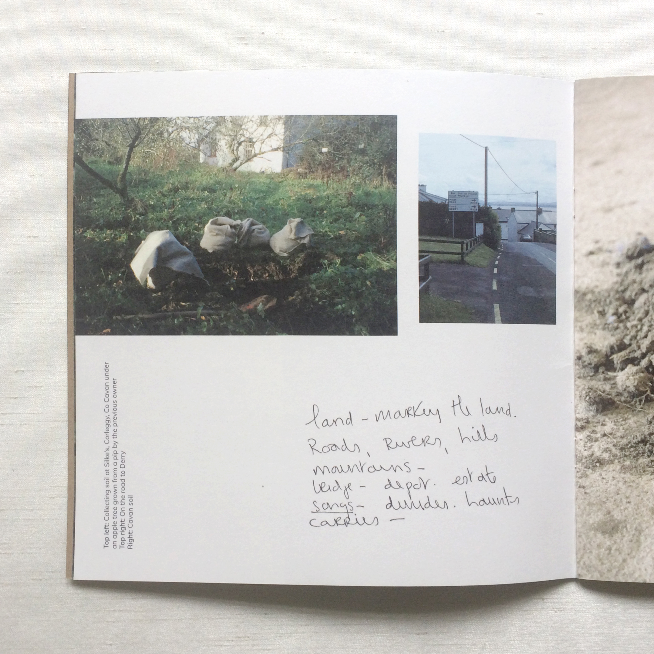 Artist catalogue graphic design with photographs, written text and titles on page