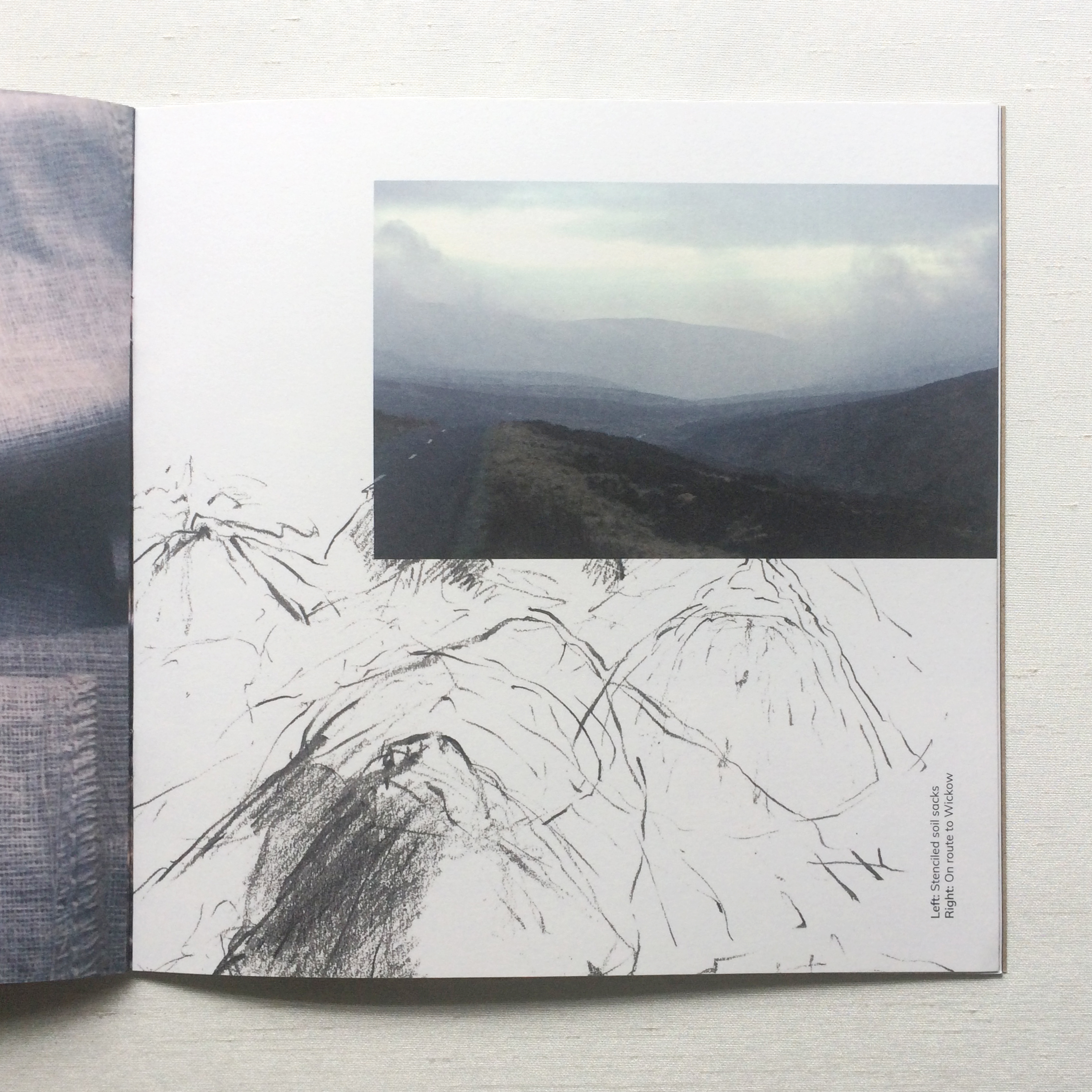 Graphic design artist catalogue - scenic photo beside hand drawing of hills