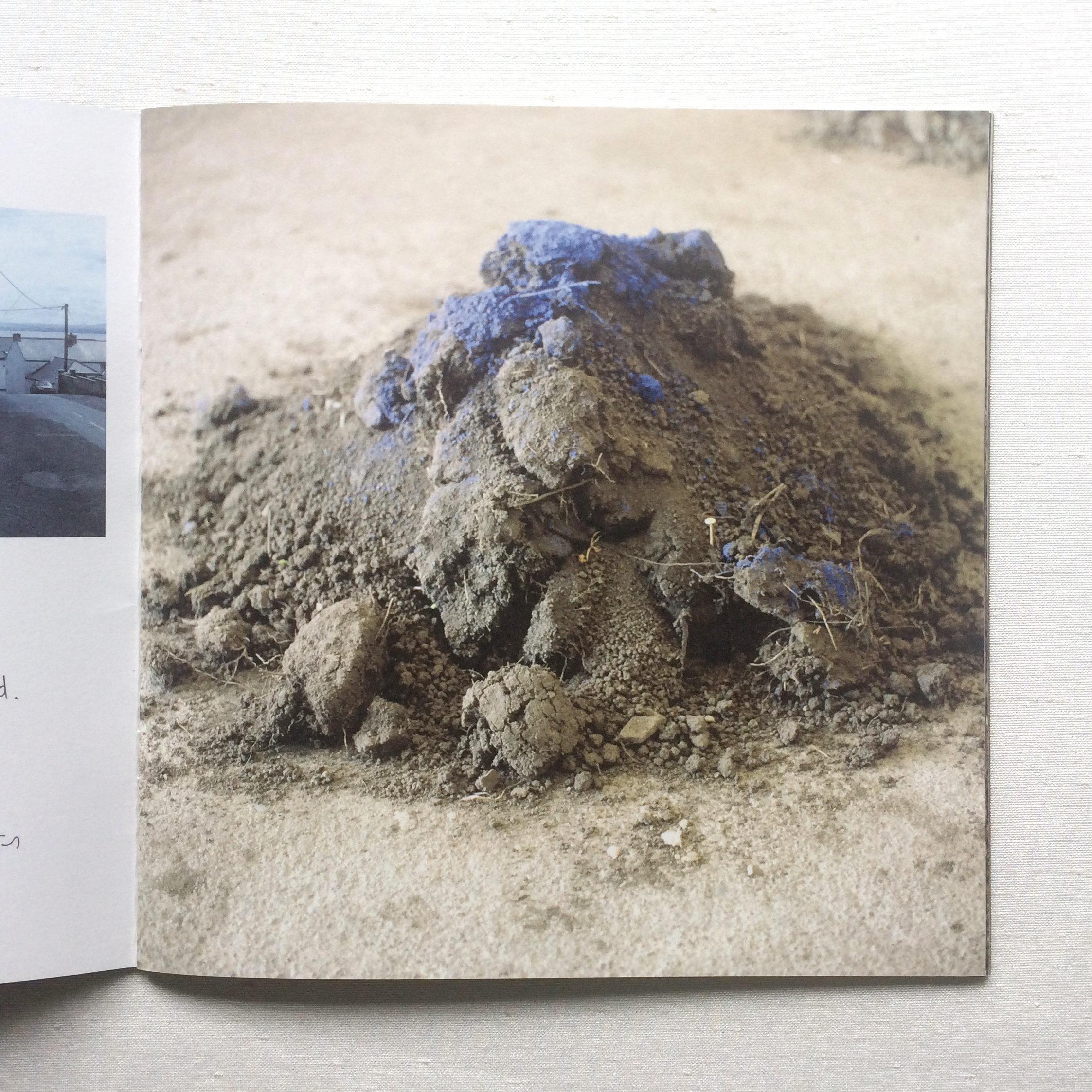 Pile of soil with blue colour on top - artist Patricia McKenna Soil art installation