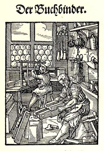 Woodcut of bookbinding workshop