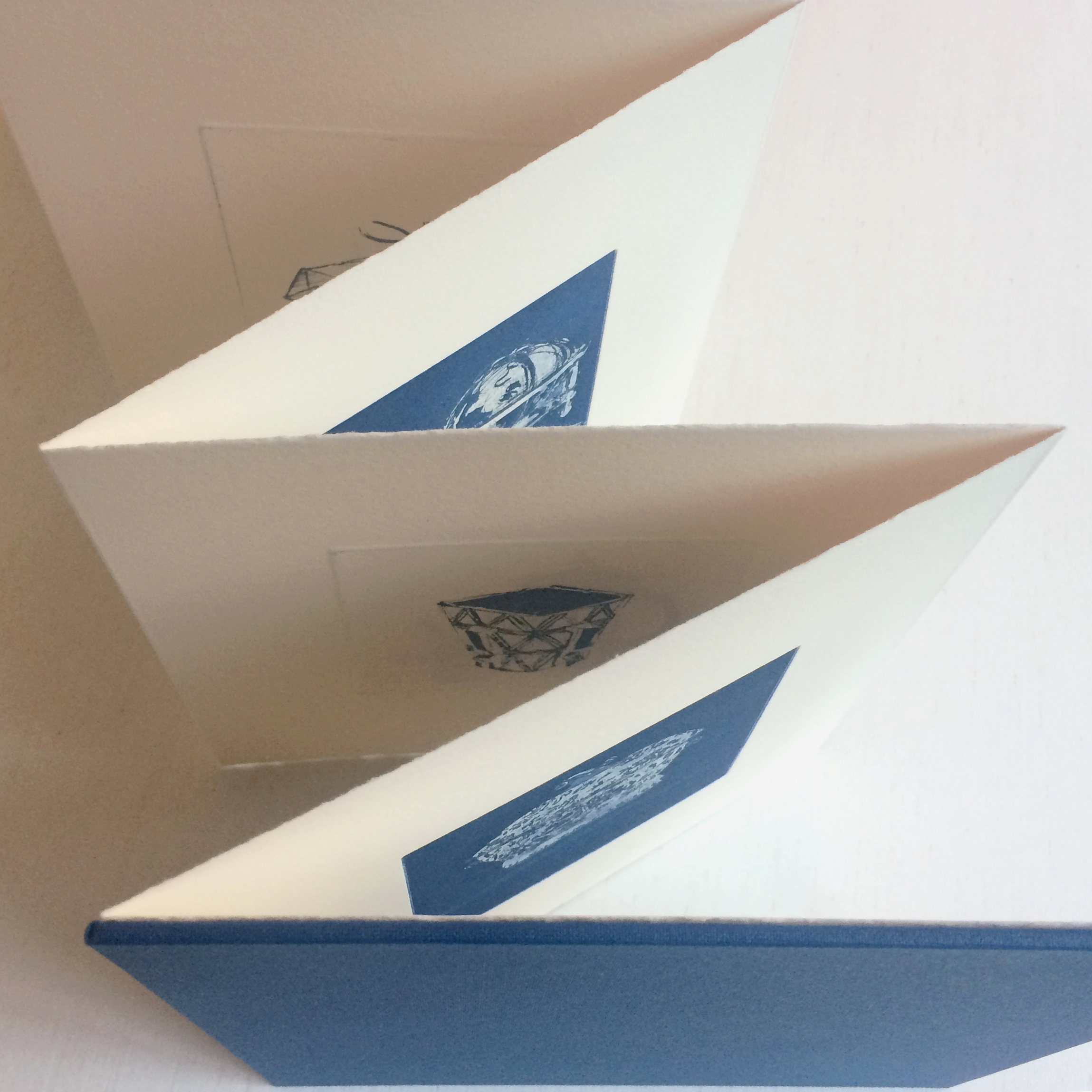 Unique artist's book with navy cover and prints