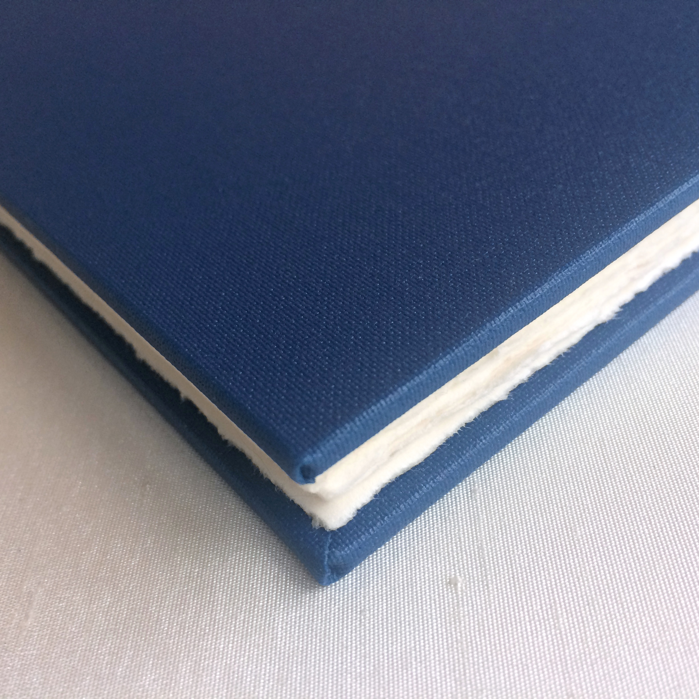 Navy book cloth on cover of unique artist's book