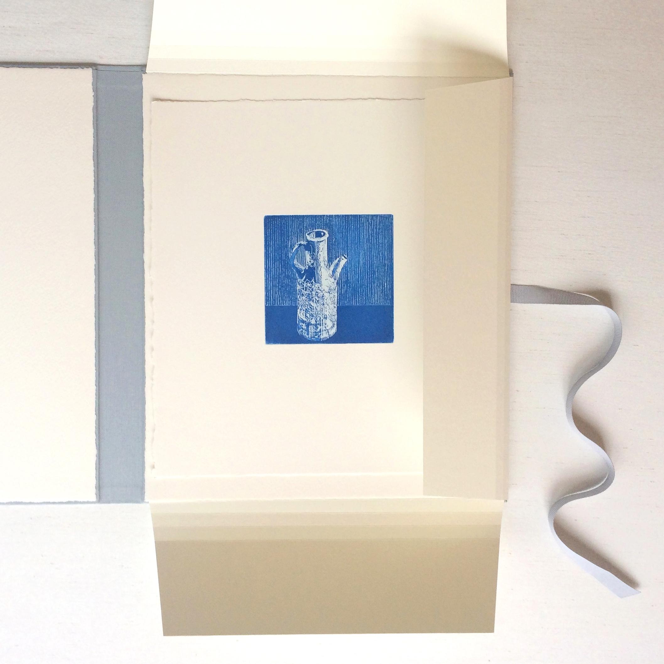 Original print inside handmade portfolio for exhibition