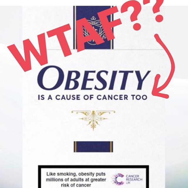 """🤬 Wow. Just wow. How is this for scaremongering?? I went on to the Cancer Research UK website and started reading their page on obesity and cancer. They said: """"Consistent results from decades of research involving millions of people show the link between obesity and cancer and means we can confidently rule out other explanations (such as chance or other lifestyle factors)."""" . . 🤨 That's a LINK guys! Not a CAUSE! You can find a link to a lot of things but it doesn't mean they are going to happen. Having brown hair may be linked with being rich, but it doesn't CAUSE it. They then went on to say: """"A person's risk of cancer depends on lots of different factors, including things you can't change like your age and genes. Other things that can cause cancer, whether that's obesity, tobacco or the sun, increase a person's risk of cancer, but do not mean that person will definitely develop cancer."""" . 😤 why isn't this being put on that poster? Maybe because it's a lot less sensationalised with that little disclaimer there? 🤔 And surely they should also mention that: 1. you can't change your genes and your genes contribute to your weight 2. Being """"overweight"""" or """"obese"""" is being measured by BMI which was never meant to be a diagnostic tool (see my previous Insta post) 3. That 90% of diets fail and so those that lose weight are likely to gain it back, so perhaps it's not so easy to change 4. That yo-yoing in weight can be more damaging to health 5. That shaming someone in a larger body does not lead to weight loss and can be more detrimental to their physical and mental health! .  Its time to stop this bullshit! . . . #weight #weightloss #cancer #canceruk #diets #nodiets #obese #overweight #linknotcausation #health #healthateverysize #haes #dietitian #weightstigma #weightbias #dietmentality #wtaf"""