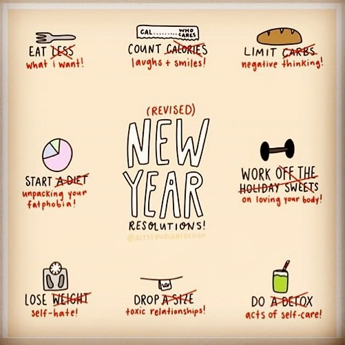 Now these are the kind of New Year resolutions we can get behind! 🙌🏼 . Dump the diets, the self punishing behaviours and self hate, and replace with self compassion, self care and self love ❤️ . . . #healthateverysize #weightstigma #weightbias #selfcare #dowhatyoulove #hunger #mindful #mindfulness #mindfuleating #enjoyment #food #internalcues #noguilt #internalcuesnotexternalrules #intuitive #intuitiveeating #dietitian #nodiets #mindfuleatingpractise #lovewhatyoueat #dietitiansagainstdiets #haes #brixton #selfcompassion #diets #programme #gratitude #newexperiences #newyear #newyearsresolution