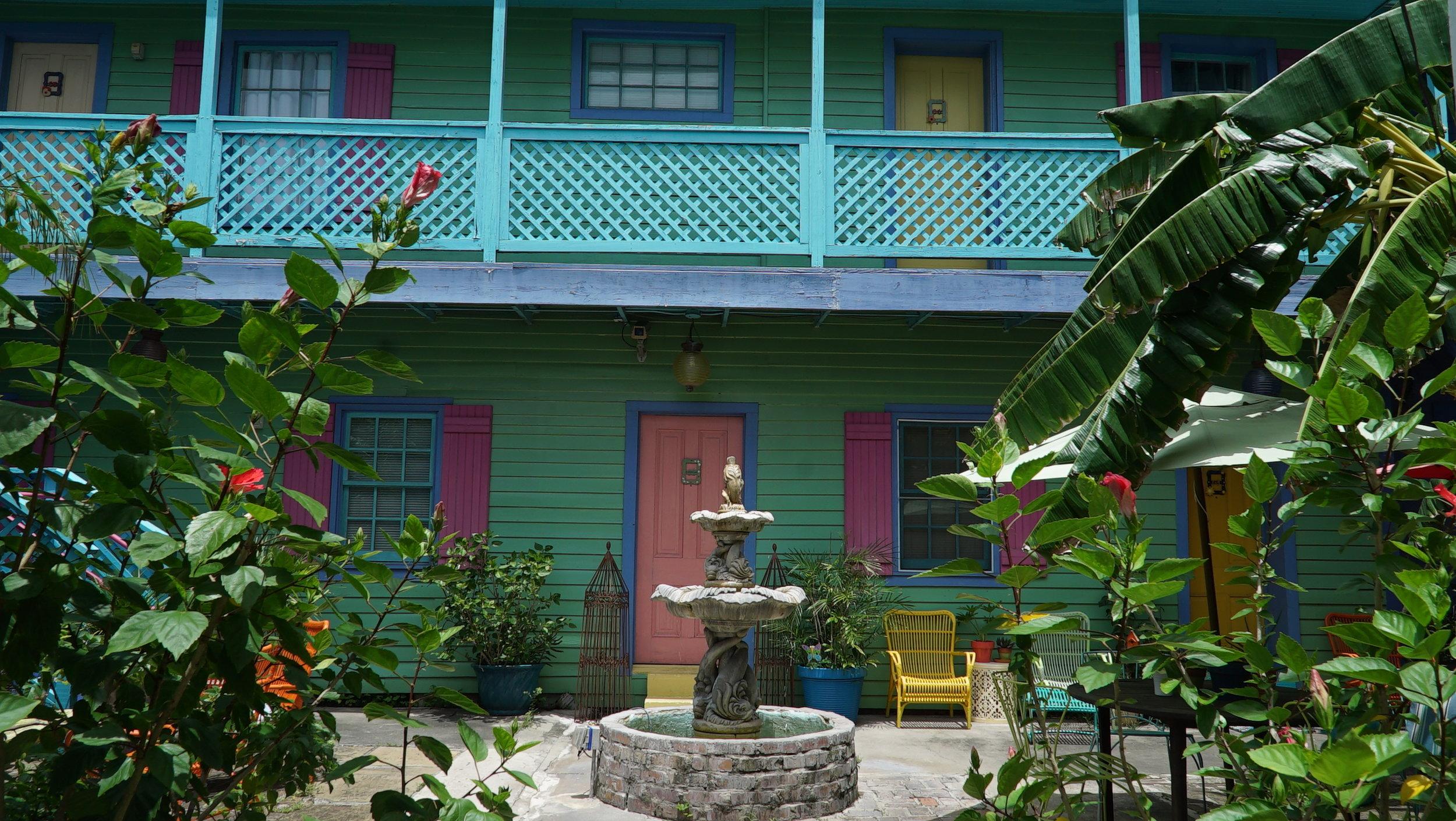 Our lush Banana Courtyard.
