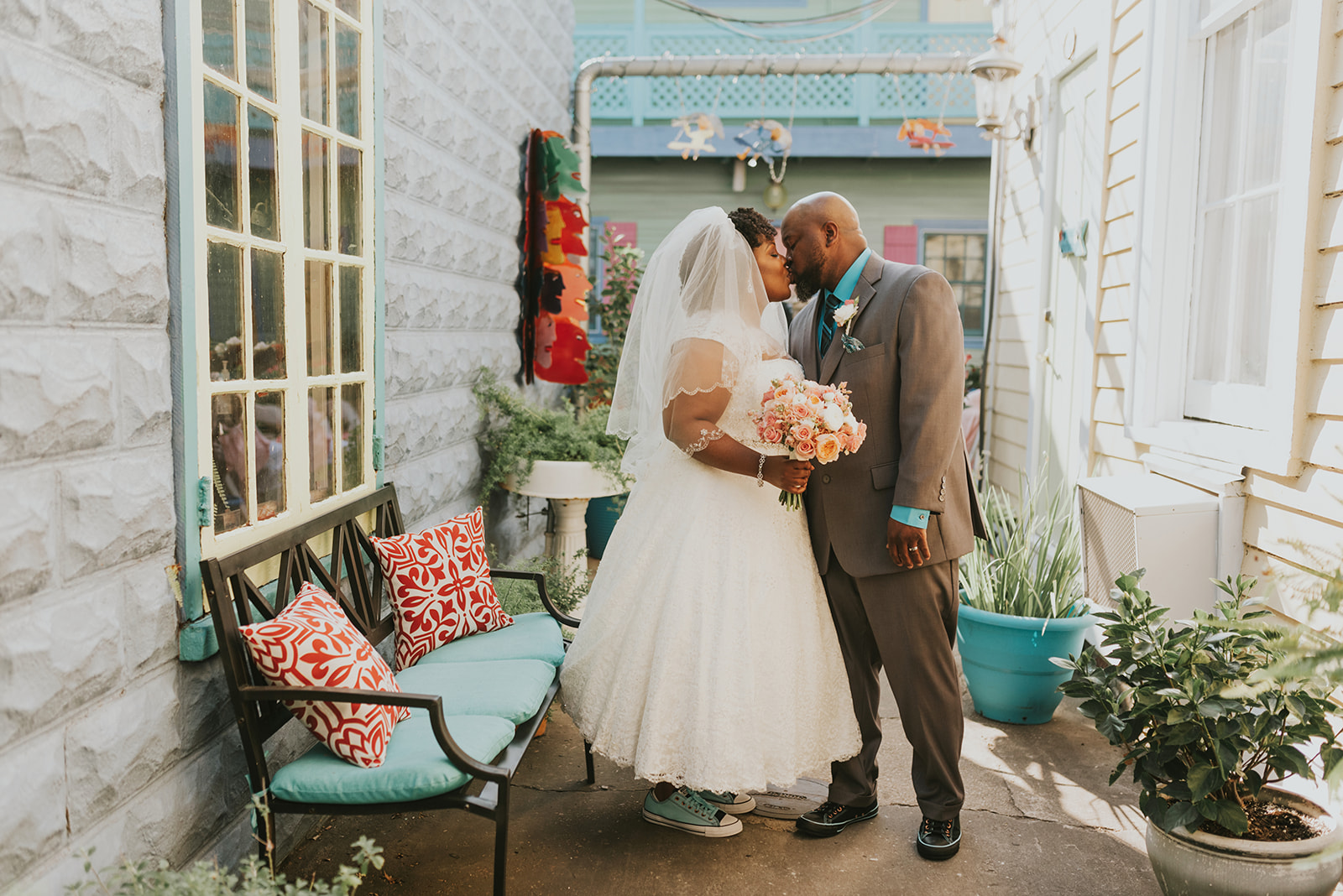 This lovely couple had their ceremony in our Banana Courtyard, and their reception in The Roadhouse - Copyright  Jen Menard Photography