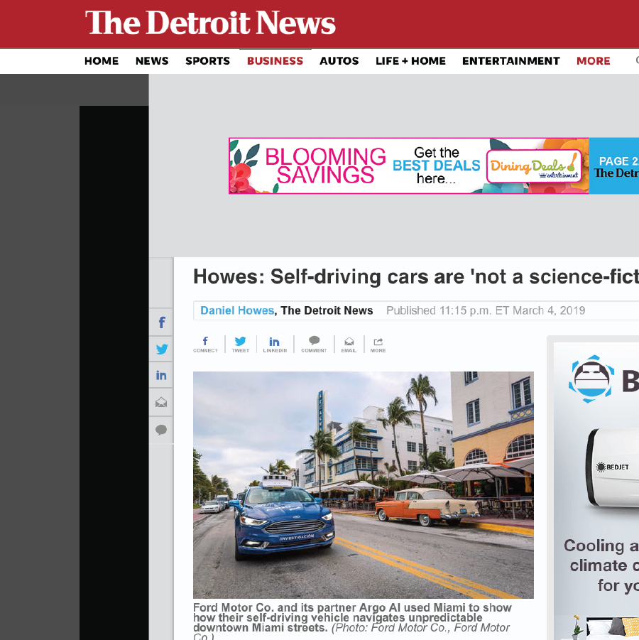 The Detroit News  Howes: Self-driving cars are 'not a science-fiction story'. Ford Motor Co. and its partner Argo AI used Miami to show how their self-driving vehicle navigates unpredictable downtown Miami streets.