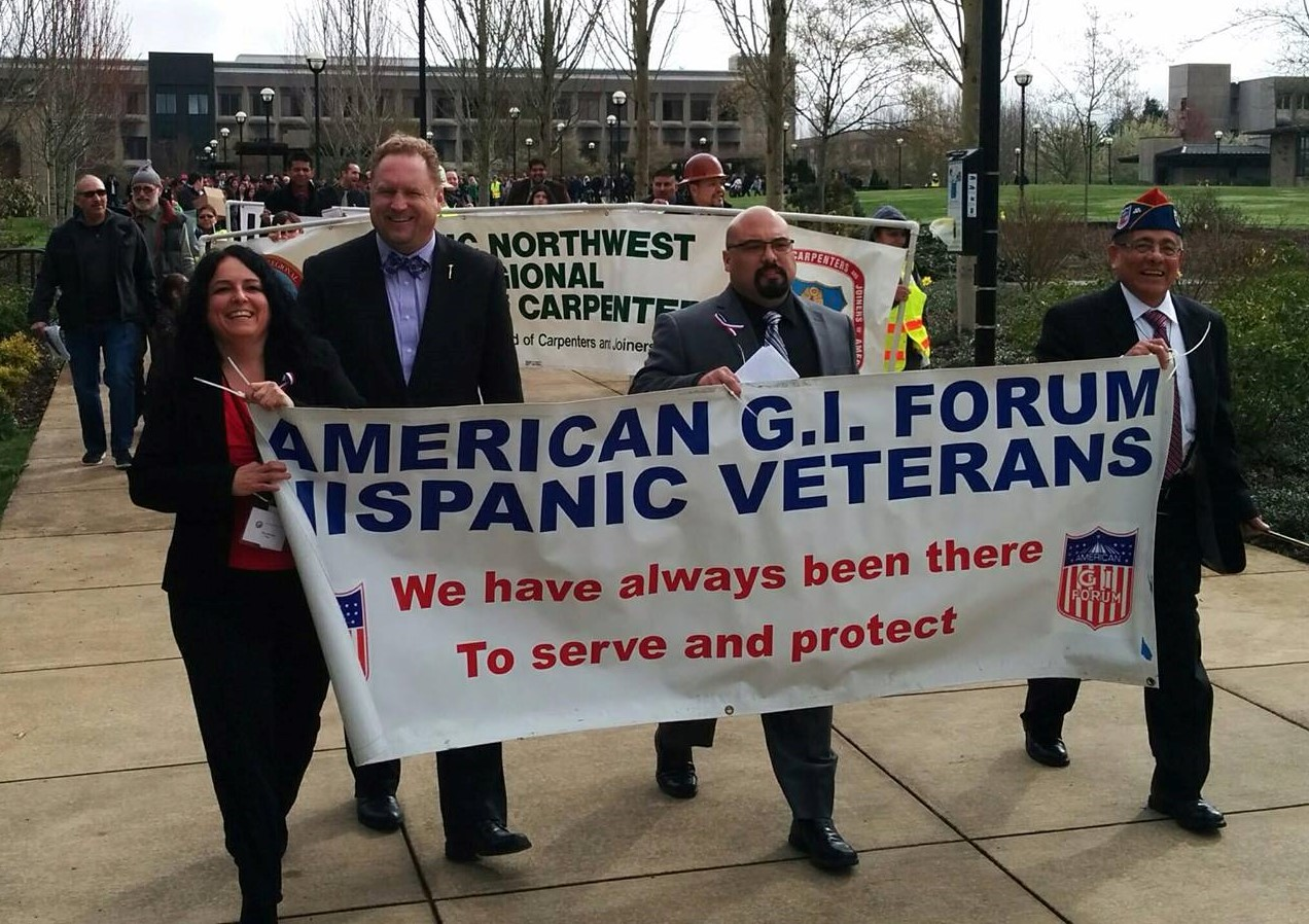 Nina marching with the Northwest Regional Carpenters