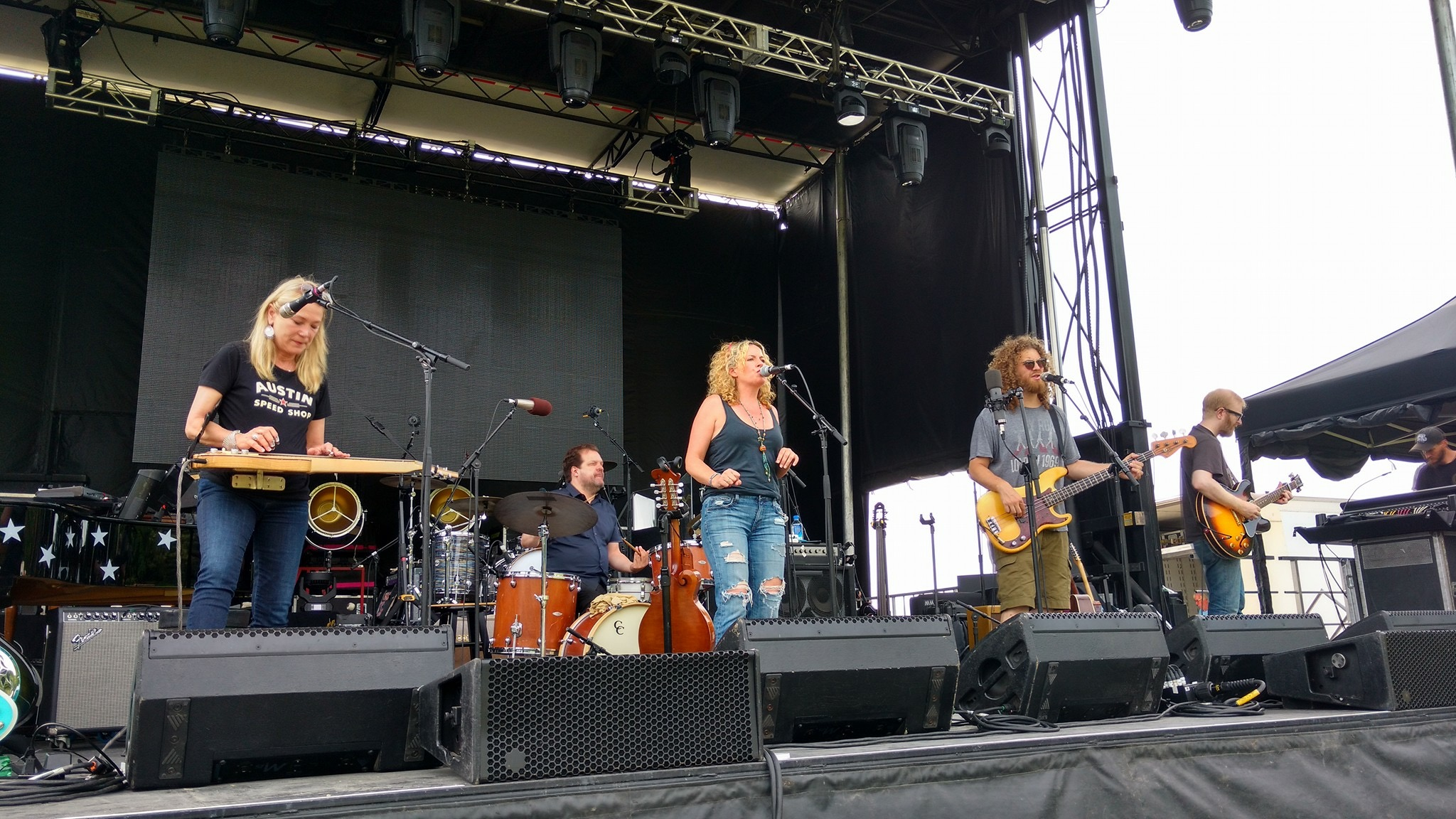 Playing a festival with Amy Helm, Jay Bellerose, Cindy Cashdollar and Adam Minkoff