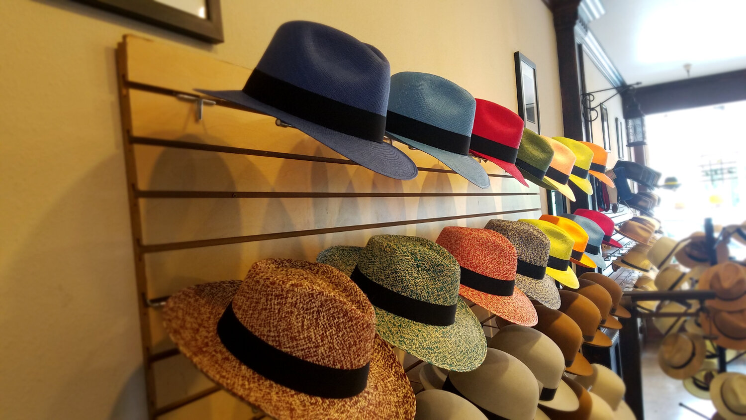 Featured item. - Get ready for summer with a colored panama hat….available in a variety of colors and weaves. Also available in natural and white.