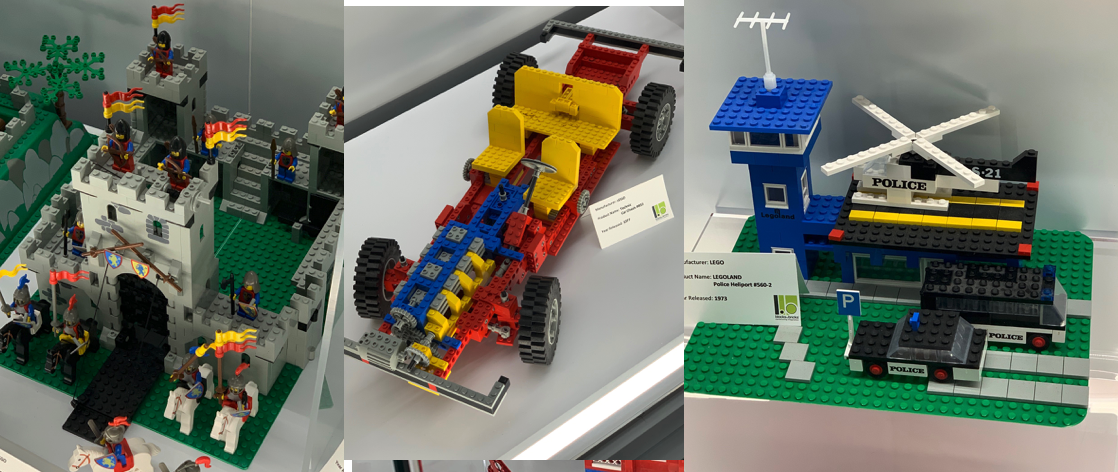 Blocks to Bricks Museum Exhibits: LEGO Castle, LEGO Technics Race Car, and LEGO Police Station